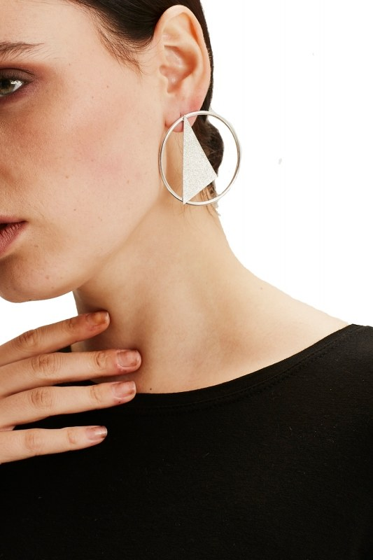 Geometrical Pendant Hoop Earrings (Silver)