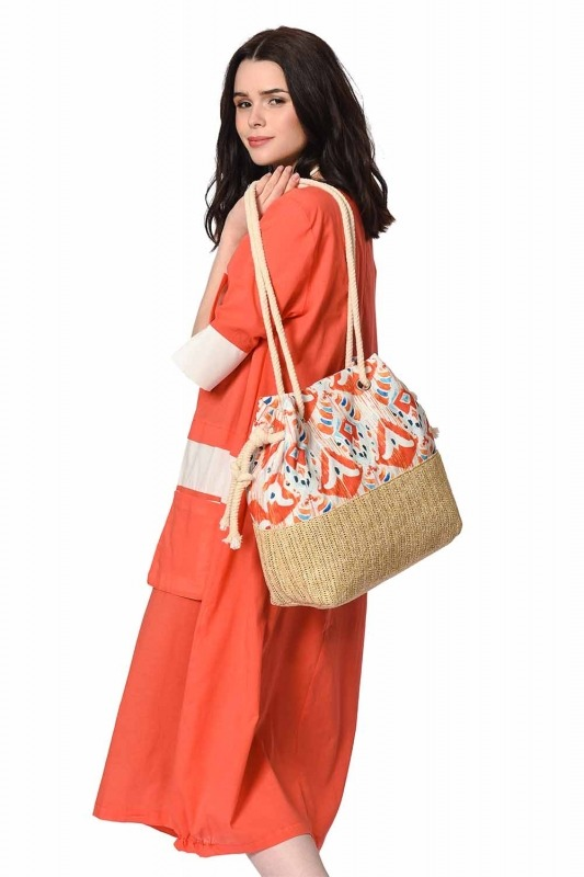 Wicker Detailed Beach Bag (Orange)