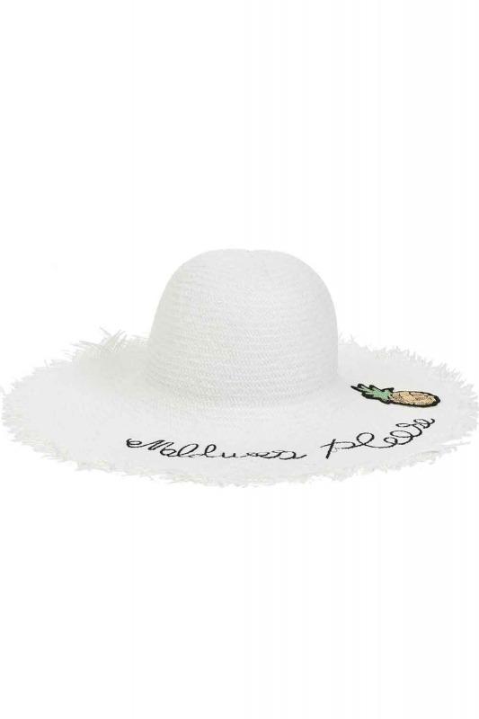 Hasır Plaj Şapkası (Beyaz)