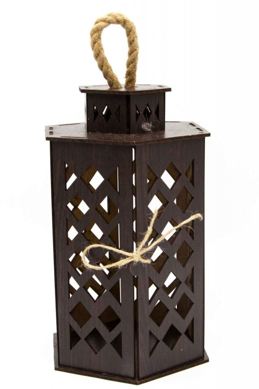 Hexagonal Shape Wooden Lantern (Wenge)