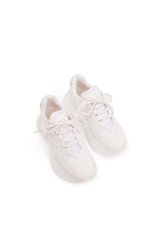 أحذية عالية النعال الرياضية (أبيض)