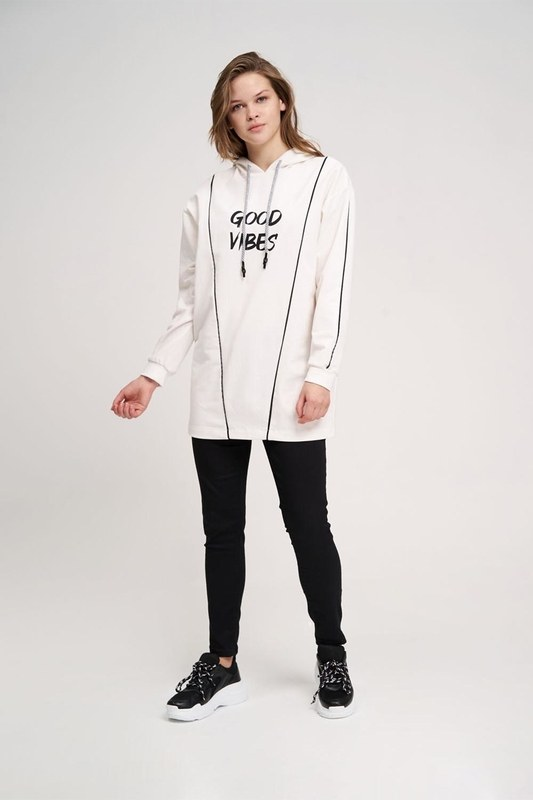 İki Çizgili Baskılı Sweatshirt (Ekru)