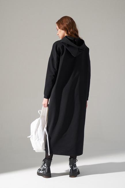İki İplik Droplu Elbise (Siyah) - Thumbnail