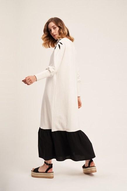 İki İplik Omuzu Nakışlı Elbise (Ekru) - Thumbnail