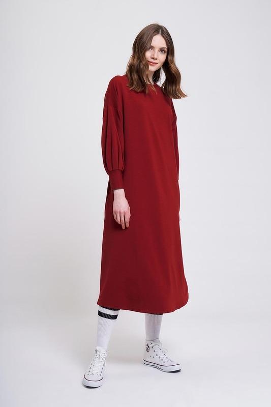 İki İplik Uzun Elbise (Bordo)