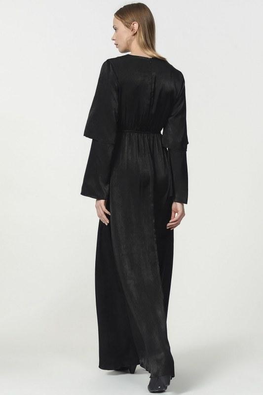İki Kat Volan Kollu Elbise (Siyah)