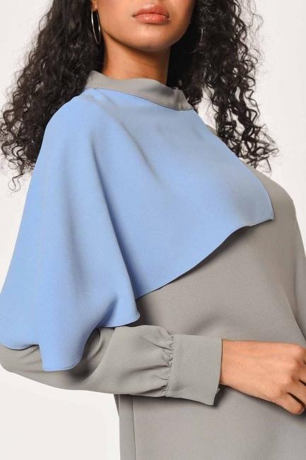 İki Renk Garnili Tasarım Bluz (Gri/Mavi) - Thumbnail