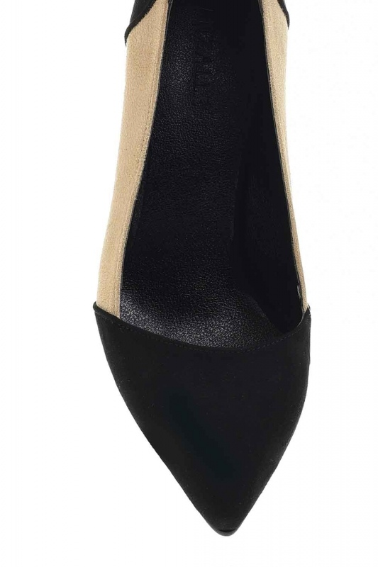 Two Color Suede Shoes (Black/Beige)