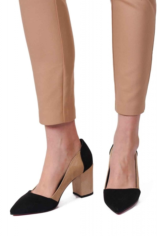İki Renkli Süet Ayakkabı (Siyah/Bej)