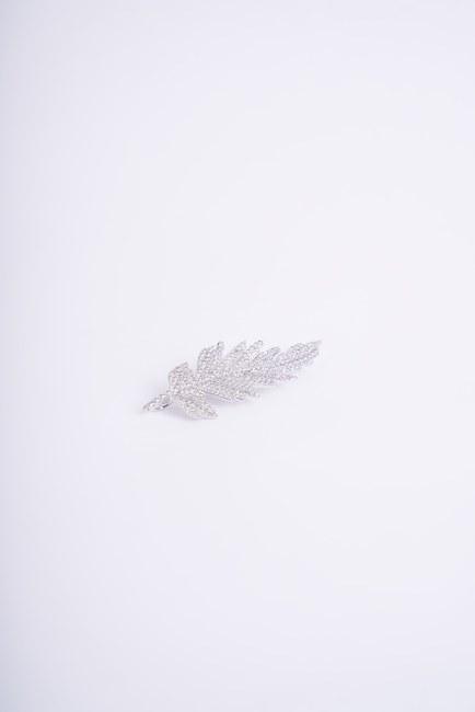İnce Uzun Yaprak Broş (Gri) - Thumbnail