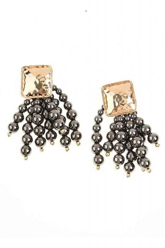 Pearl Detailed Dangling Earring (Anthracite)