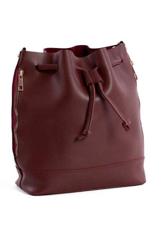 Drawstring Hand And Shoulder Bag (Claret Red)