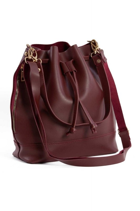 Drawstring Hand And Shoulder Bag (Claret Red)