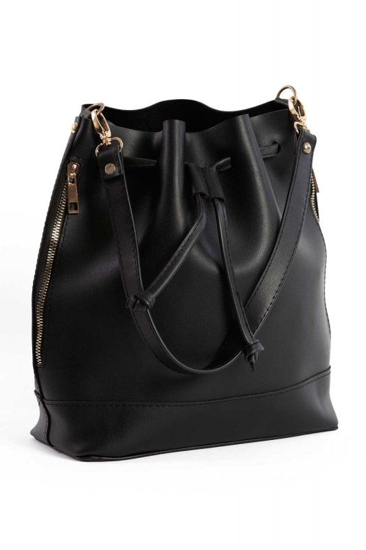 Drawstring Hand And Shoulder Bag (Black)