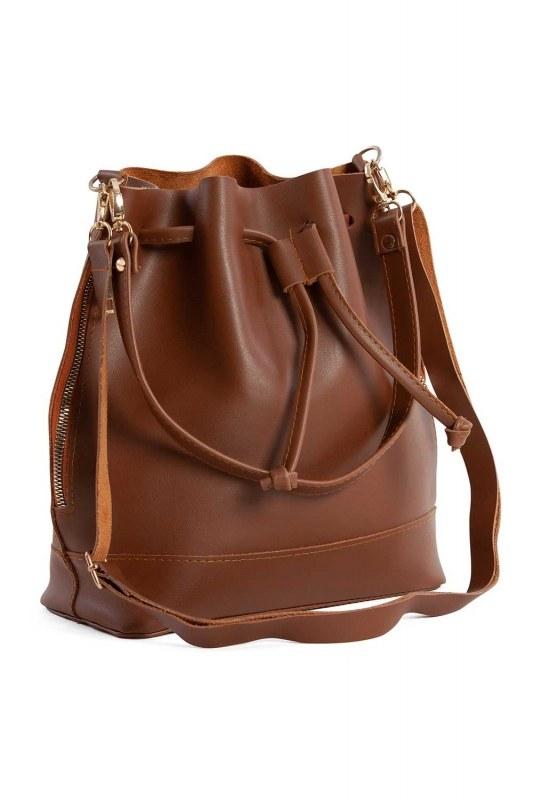 Drawstring Hand And Shoulder Bag (Light Brown)