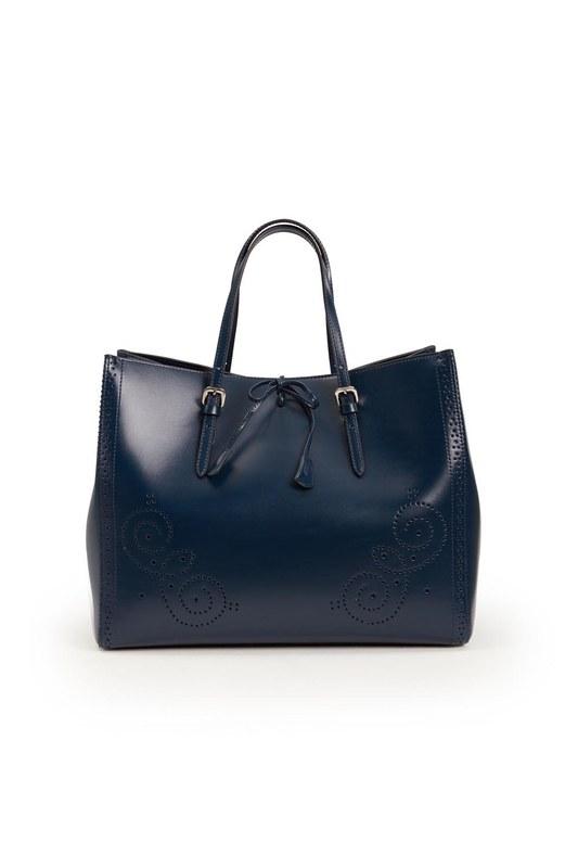 حقيبة جلدية كبيرة مطرزة (الأزرق الداكن)