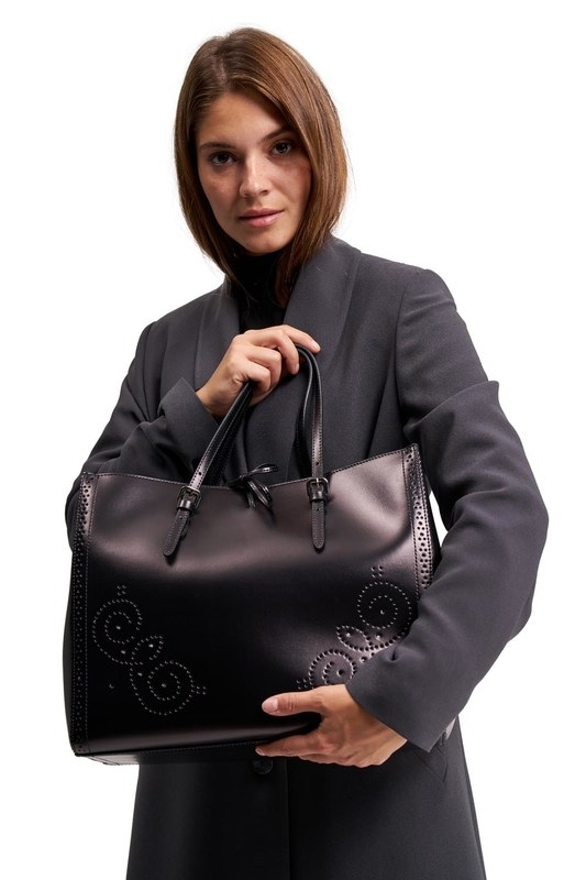 Embroidered Leather Large Handbag (Black)
