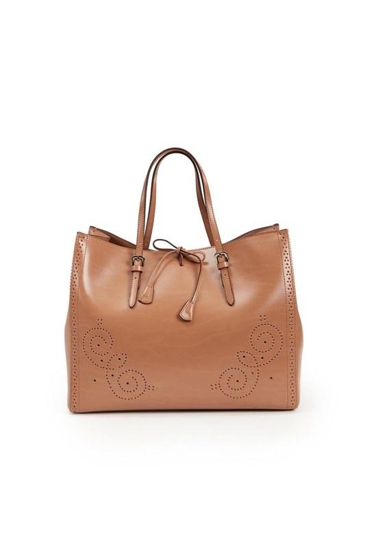 Embroidered Leather Large Handbag (Tan)