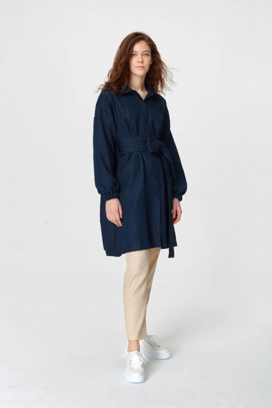 فستان تونك مع أنماط جاكار وحزام (الأزرق الداكن)