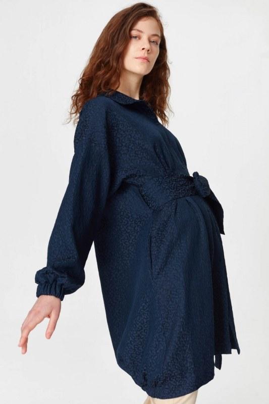 Jacquard Detailed Tunic Dress (Navy Blue)