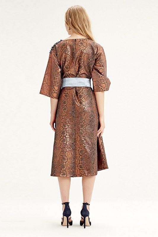 Jacquard Dress (Brick Red)