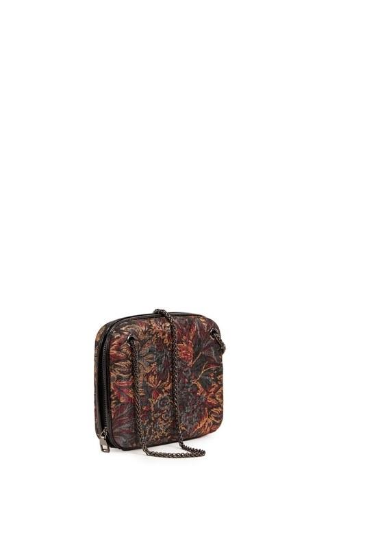 حقيبة جاكار منقوشة (أسود)