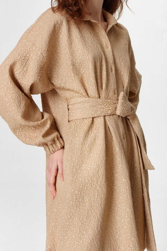 Jacquard Detailed Tunic Dress (Beige)