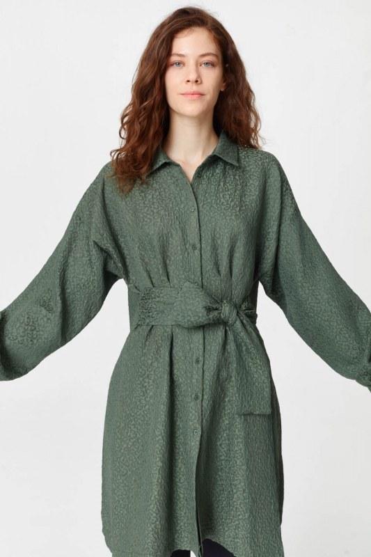 فستان تونك مع أنماط جاكار وحزام (الكاكي)