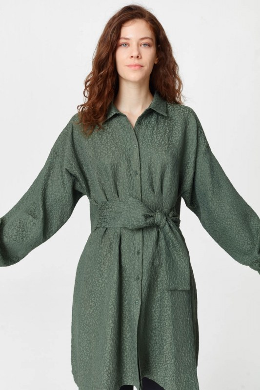Jakar Desenli Kuşaklı Tunik Elbise (Haki)