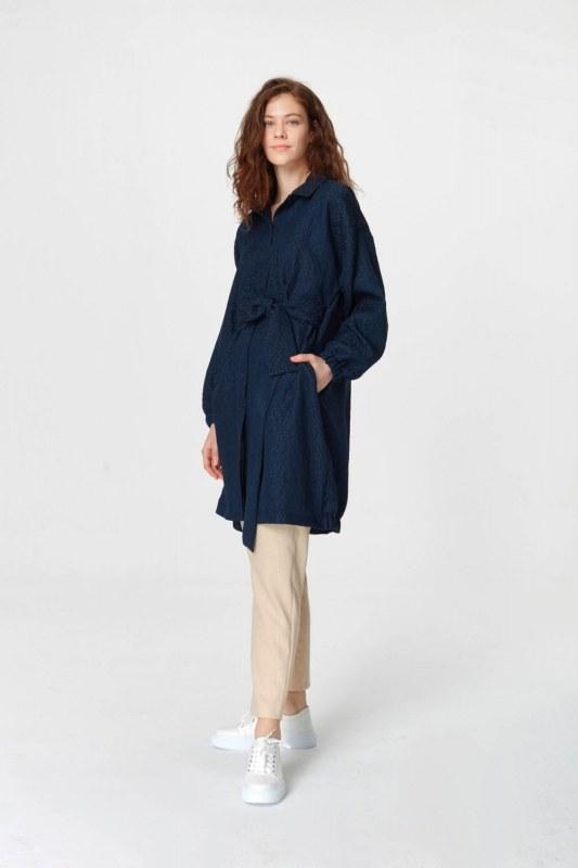 Jakar Desenli Kuşaklı Tunik Elbise (Lacivert)