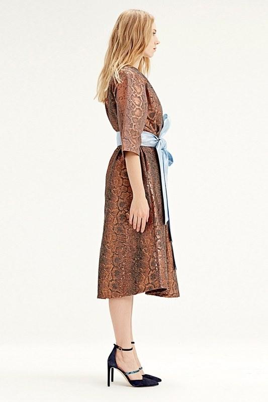 فستان قماش جاكار(لون قرميدي)