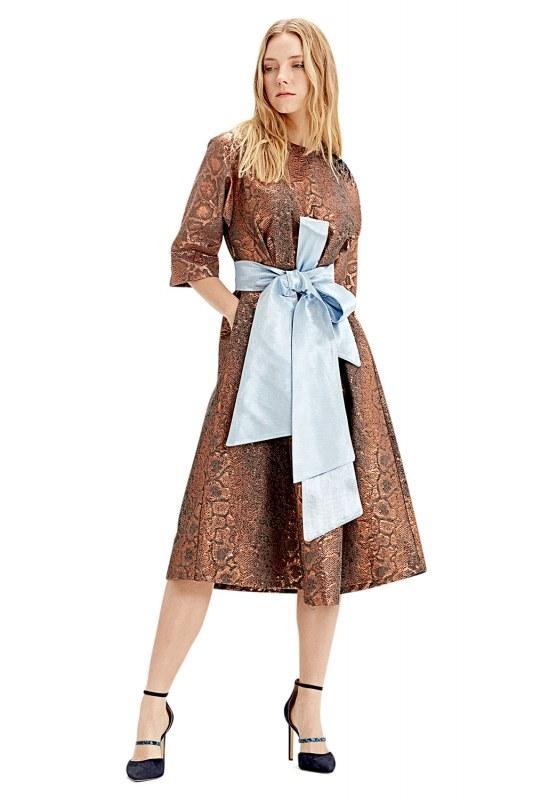 Jakarlı Elbise (Kiremit)