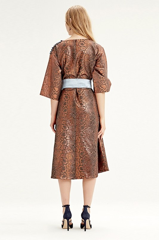 Jacquard Dress (Brick Red)