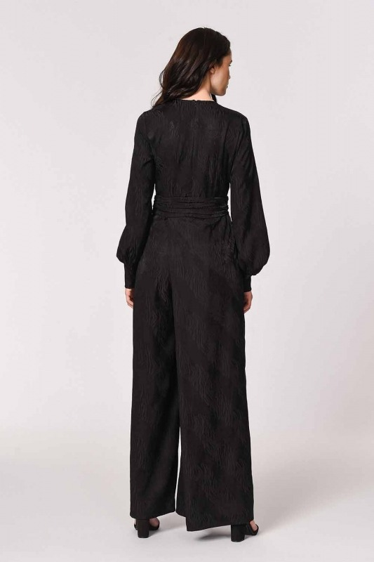 Jacquard Patterned Evening Dress-Jumpsuit (Black)