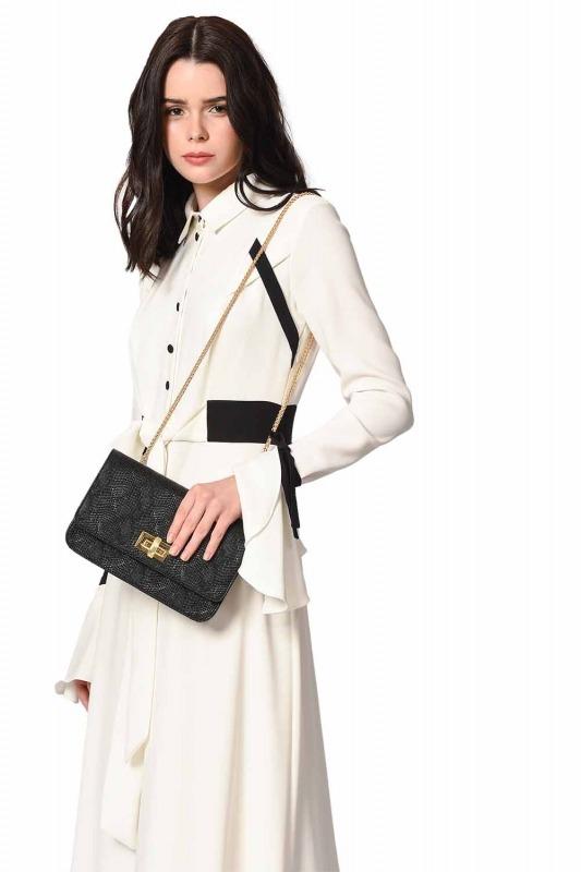 Embossed Patterned Shoulder Bag (Black)