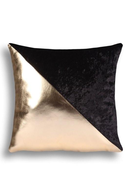 Golden Striped Velvet Pillow Cover (43X43)