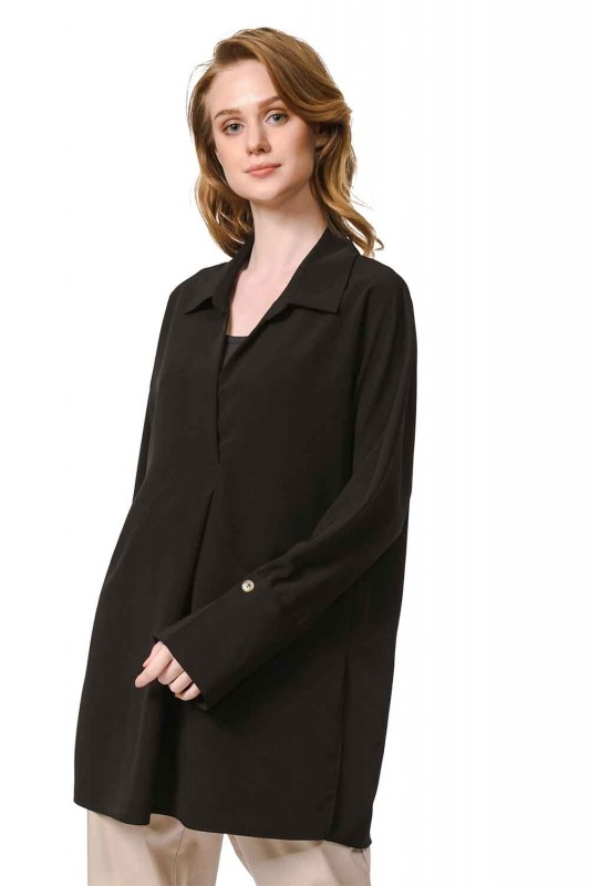 Thick Patterned Luxury Blouse (Black)