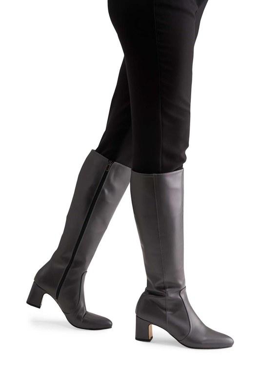 حذاء طويل بكعب سميك (رمادي)
