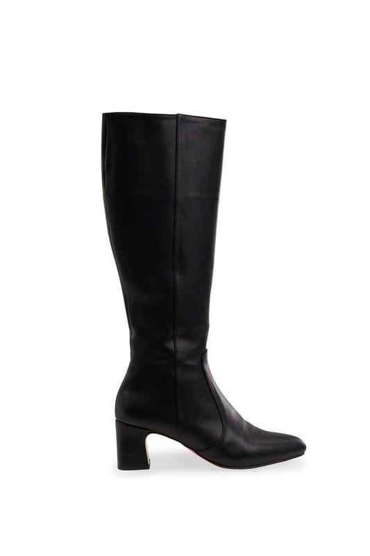 حذاء طويل بكعب سميك (أسود)