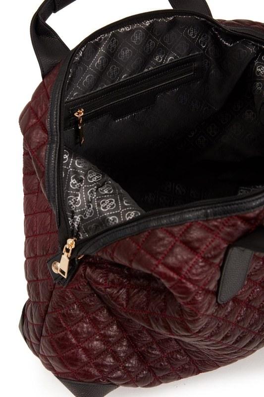 Quilted Large Shoulder Bag (Claret Red)