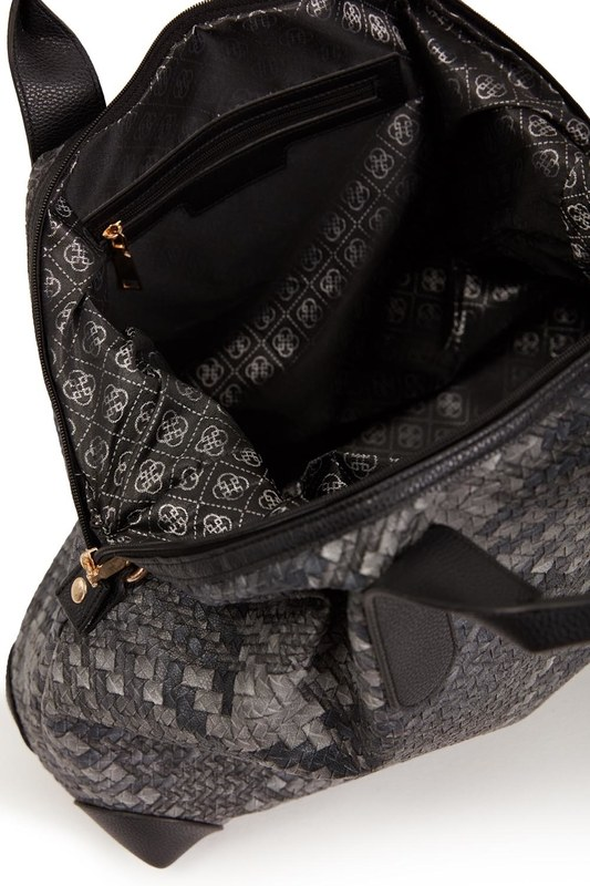 Quilted Large Shoulder Bag (Black/White)