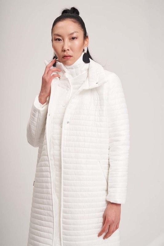 معطف مبطن طوق مزدوج (أبيض)