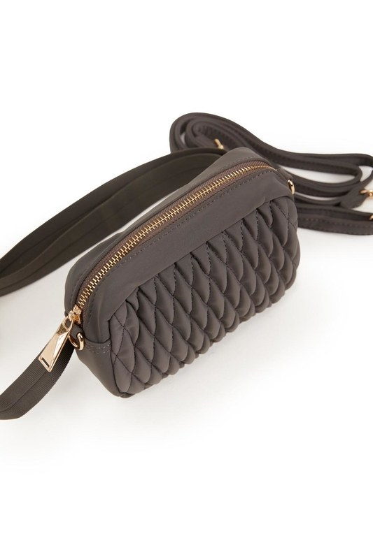 Quilted Shoulder and Waist Bag (Grey)