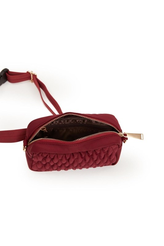 Quilted Shoulder and Waist Bag (Red)