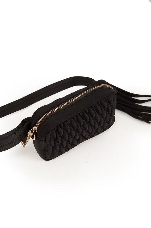 Quilted Shoulder and Waist Bag (Black)