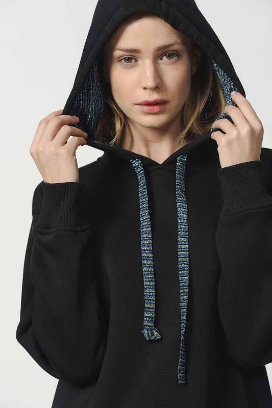 Kapüşonlu Kanguru Cepli Sweatshirt (Siyah)