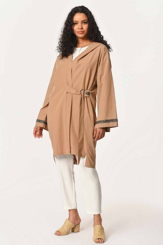 Hooded Tunic Jacket (Camel)