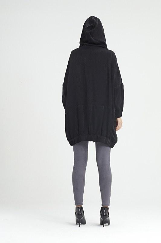 معطف مطر بقبعة (أسود)