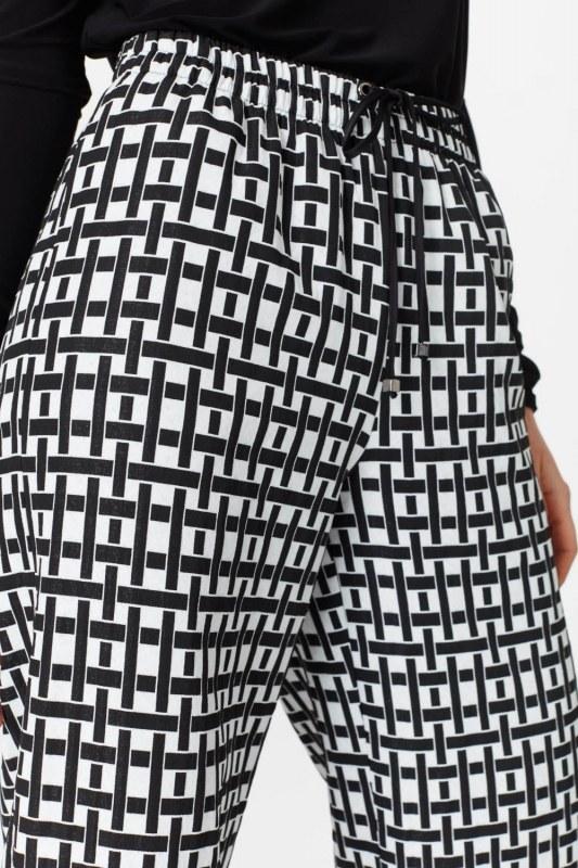 بنطلون جاكار مربع (أسود / أبيض)