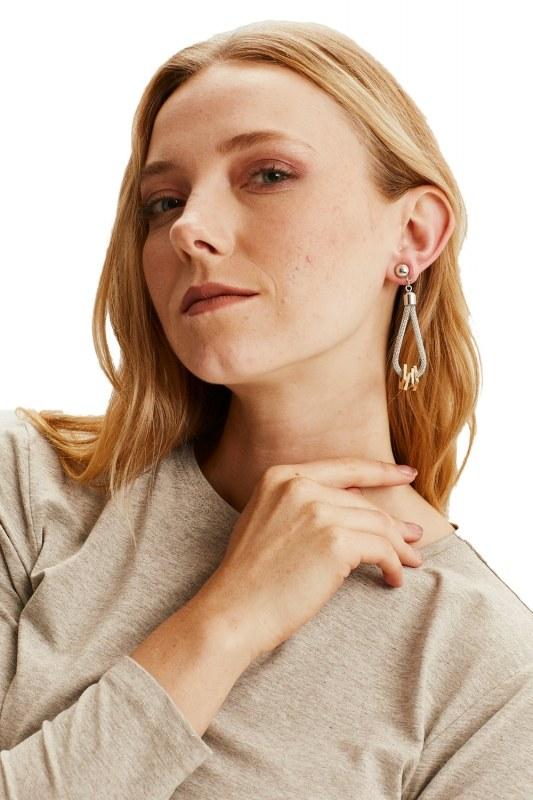 Metal Flake Square Earrings (Silver)